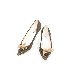 Moschino Shoes - Moschino Pumps Studded Kitten Heel Bow Brown Suede